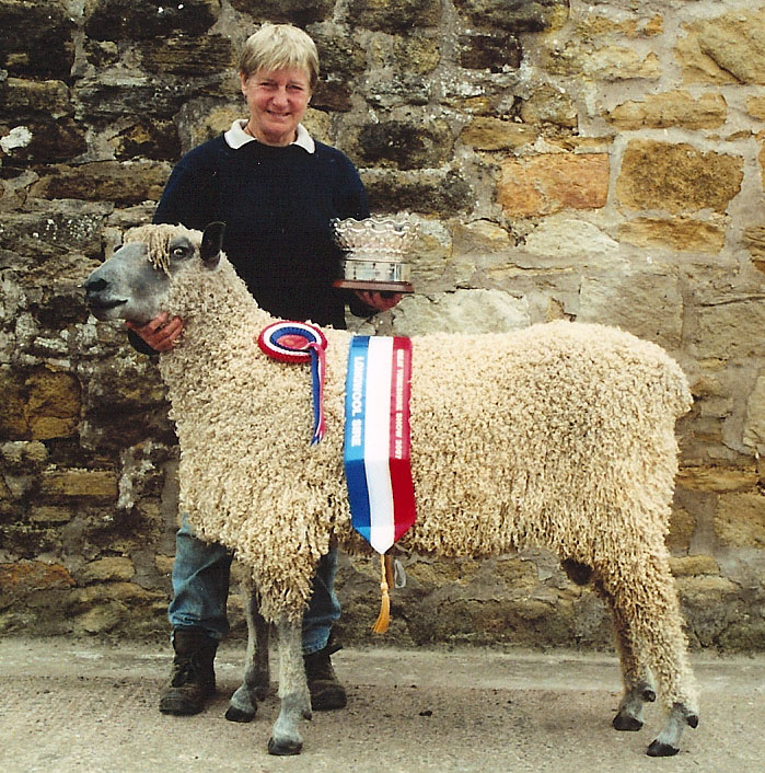Shelagh with winning sheep